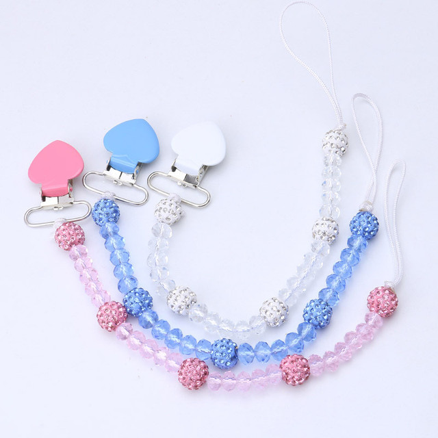 Pacifier Clip New Baby Pacifier Chain Hand Made Colourful Beads Dummy Clip Baby Soother Nipple Holder For Baby Kids
