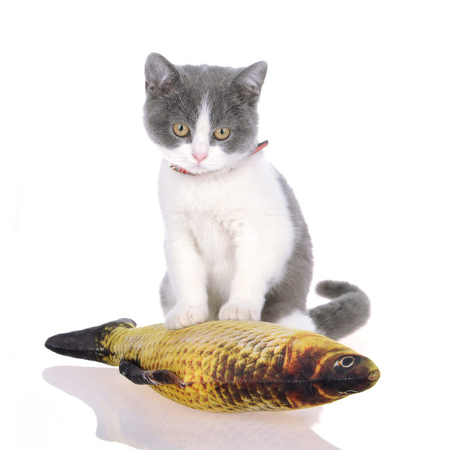Pet Cat Toys Cute Fish Shape Chewing Toy Simulation Stuffed Fish with Catnip Pet Interactive Toy for Cats Kitten 20/30/40cm