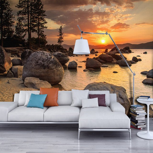 Custom Photo Wallpaper Murals 3D Sunset Beach Scenery Decor Wall Papers Home Decor Living Room Bedroom Modern Painting Wallpaper