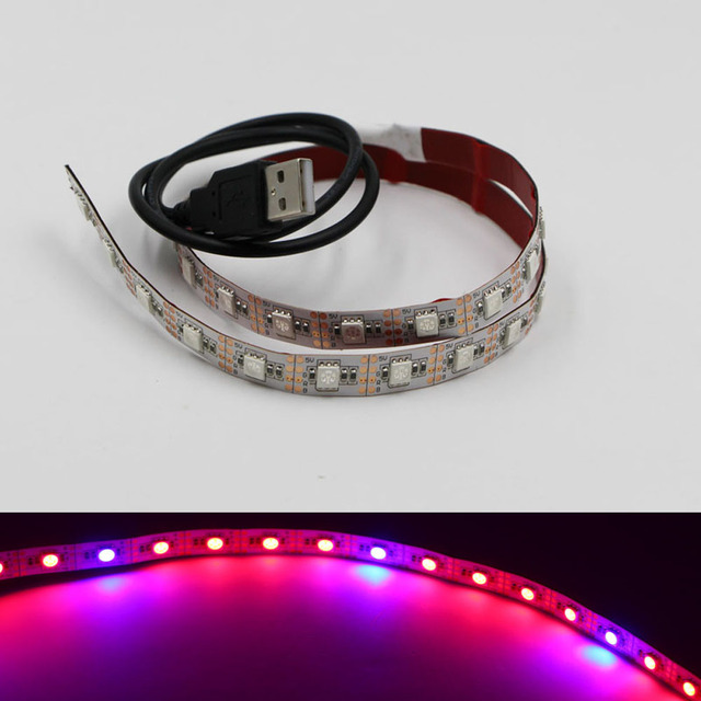 DC 5v 0.5-2m LED Grow Lights 5050 SMD Full Spectrum 4 Red 1 Blue 60LEDs/m led flexible light nonwaterproof tape ribbon lamp +USB