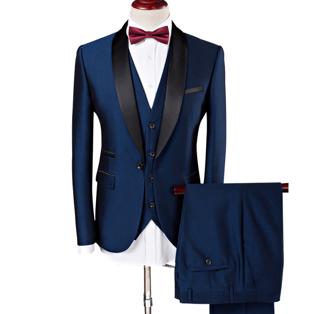 Jacket Vest Pants Men Suit 2020 Wedding Suits For Men Shawl Collar 3pieces Slim Fit Burgundy Suit Mens Royal Blue Tuxedo Jacket Buy Cheap In An Online Store With Delivery Price Comparison Specifications Photos
