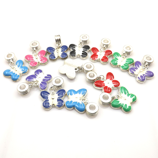 Mixed Enamel Butterfly Pendants Silver Plated Alloy Charms For European Bracelet 50pcs/lot