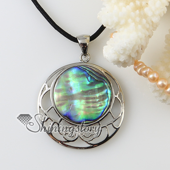 round teardrop openwork rainbow abalone oyster shell silver plated necklaces pendants 2013 cheap handmade jewelry