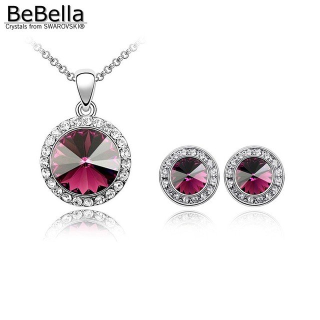 BeBella 5 colors round crystal necklace stud earrings fashion jewelry set Crystals from Swarovski original gift for women