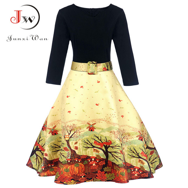 3/4 Sleeve Winter Women Vintage Dress Print Robe 50s Hepburn Female Ball Gown Party Dresses With Sashes Sexy V Collar Vestidos