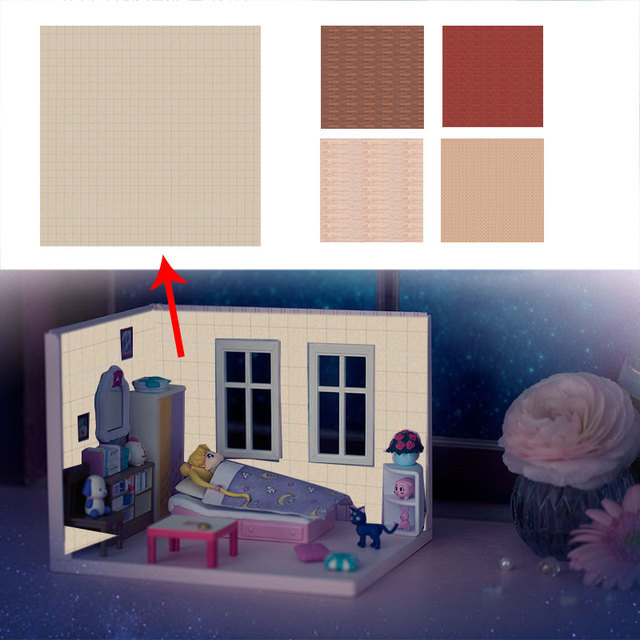 Mini Doll House Wallpaper sticker Doll House Decoration Accessories Toy for Children gift