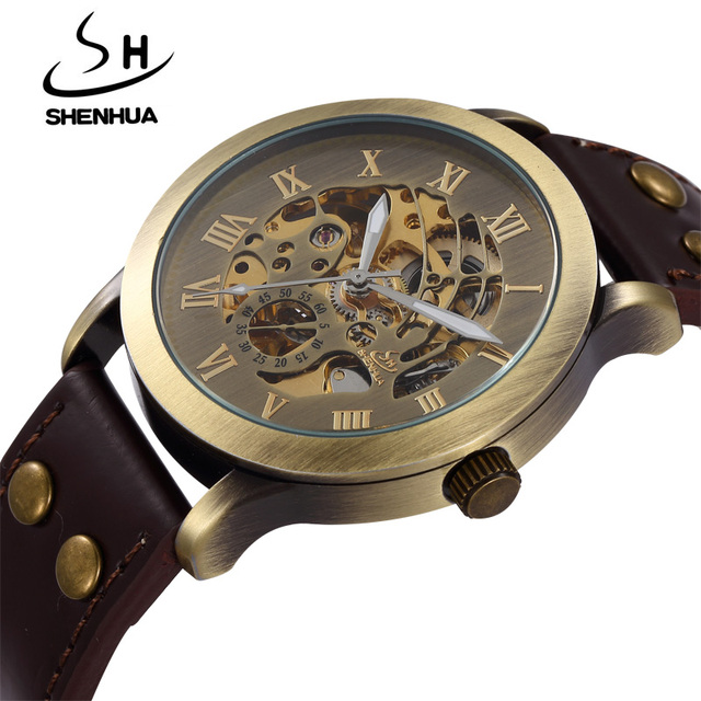 Shenhua Men Watches Fashion Vintage Bronze Automatic Mechanical Skeleton Wrist Watches Men's Mechanical Watch Relogio Masculino