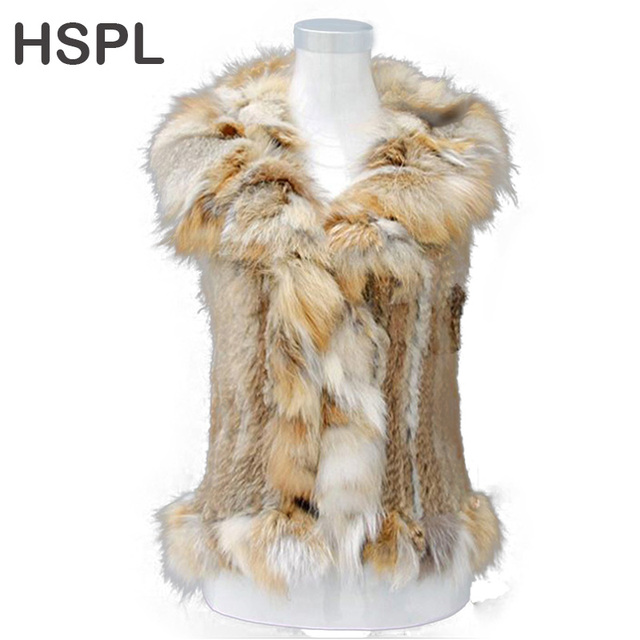 HSPL CDV160 Hot Sale Knitted Rabbit Fur Gilet With Fox Fur Trim For Spring And Autumn