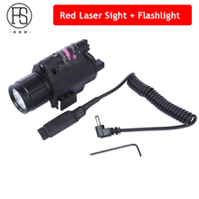 Tactical Gun L aser Sight Scope With LED Flashlight Hunting Shooting Red Laser Sight Pistol Airsoft Rifle 20mm Rail Use