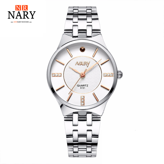 NARY Luxury Brand Quartz Watch Women Ladies Stainless Steel Bracelet Watches Casual Clock Female Dress Gift Relogio 3 colors