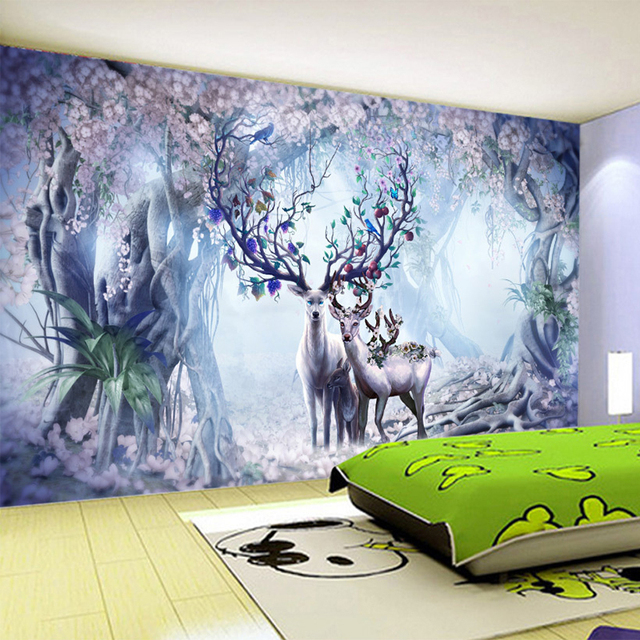 3D Wallpaper 3D Stereo Fantasy Forest Elk Photo Wall Murals  Kid's Room Living Room TV Sofa Backdrop Wall Cartoon Wallpaper Roll