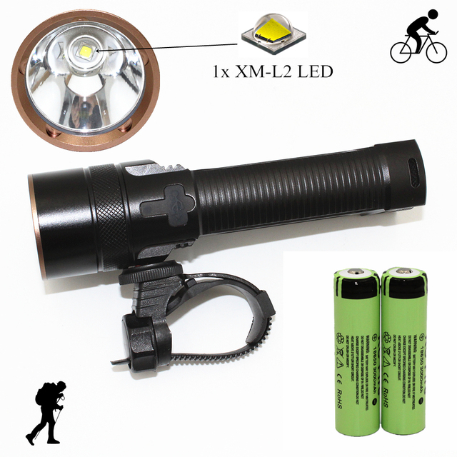 USB Rechargeable Flashlight Set Bike Light XM-L2 LED Torch Bicycle Front Light Waterproof Cycling Lamp with 18650 Battery
