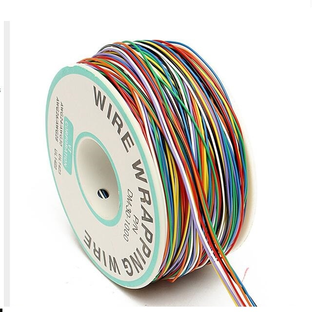 0.25mm 30AWG Tin Plated Copper Wire Wrapping Insulation Test Cable 8-Colored Wrap Reel Tin Plated Copper Plastic