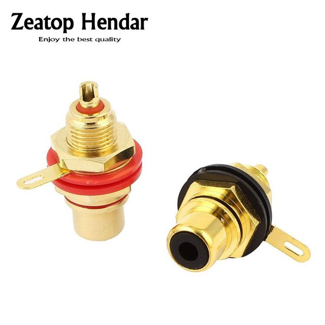 20Pcs Gold Plated  RCA Terminal Jack Plug Female Socket  Chassis Panel  Connector for Amplifier Speaker