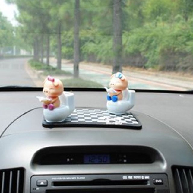 Piglet Reading on Toilet Bowl Pig Solar Toy Car Dashboard Office Decor Ornament