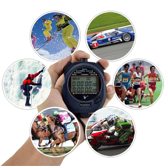 Professional Digital 3 Rows Stopwatch 30 Memory Handheld Stopwatch With Calendar Alarm Timer Function