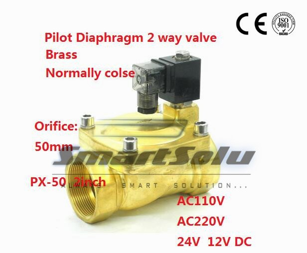 Free shipping 2 way Pilot Diaphragm Brass 24v dc pneumatic normally closed electric 2 inch water Solenoid Valve 50mm PX-50 NBR