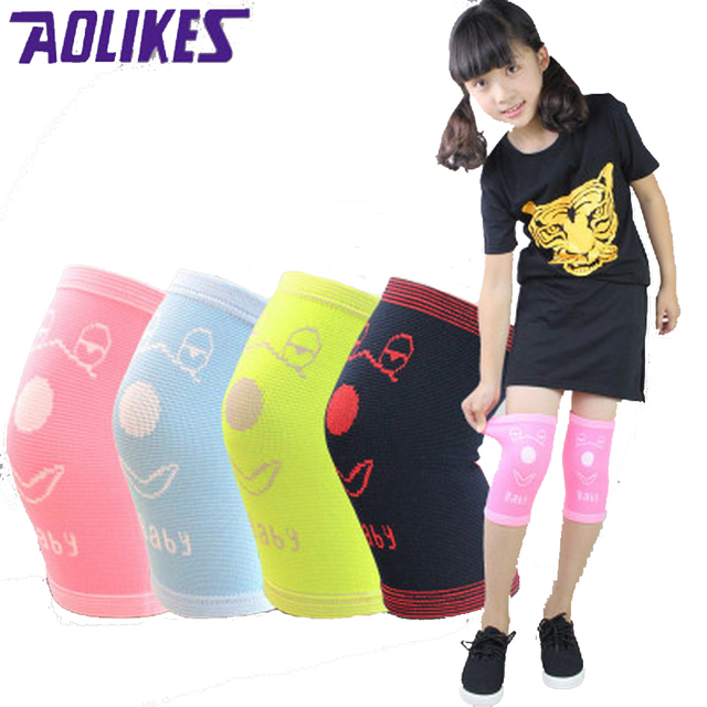 AOLIKES 1 Pair Nylon Child Knee Brace Support Sport Knee Protectors For Children Candy Color Elastic Knee Pads Dance Rodilleras
