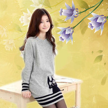 2014 New Autumn  Sweaters Dress Fashion Cat Printed Long-Sleeve Knitted Pullovers Women's Knitwear  WL1045