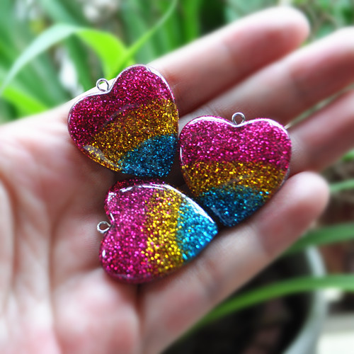 stripe heart resin charms heart pendant necklace for DIY decoration