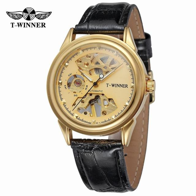 New Mens Mechanical Watches Luxury Brand Skeleton Dial Leather Strap Hand Winding Watch Men relogio Homme Clock