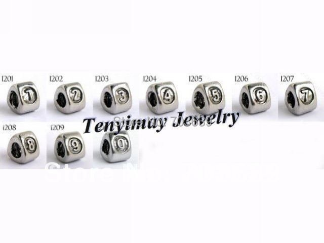 European Style Big Hole Beads, Figures Alloy Beads For DIY Free Shipping (0-9, 10pcs)