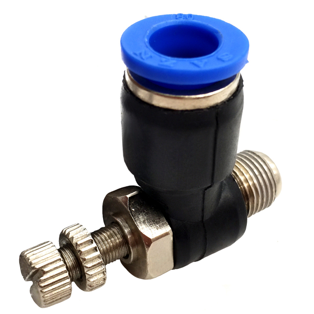 """MEGAIRON OD 8mm Male Threaded 1/8"""" METER OUT Pneumatic Fitting Tools Push to Connect Elbow Speed Flow Control"""