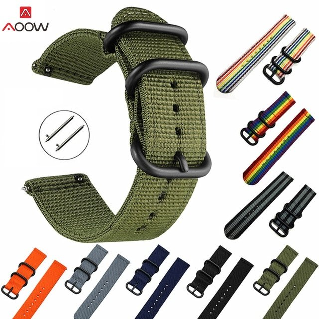AOOW Nylon 20mm 22mm Silicone Watchband for Samsung Gear S2 S3 Huami Amazfit Sport General Bracelet Watch Strap Quick Release