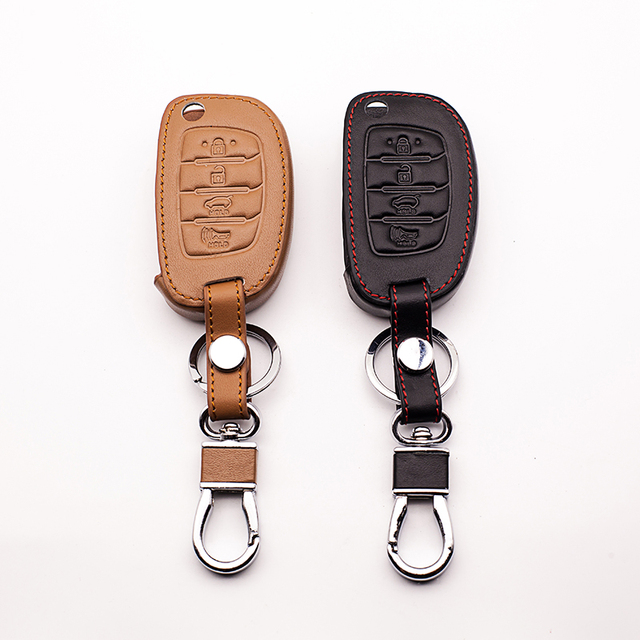 4 buttons Car Leather Key Case for Hyundai IX35 I IX25 I10 I20 Sotaque Elantra IX35 IX45 3 buttons leather car remote key case