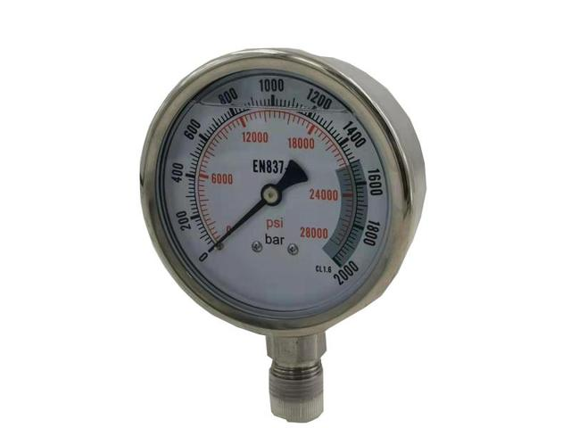High quality free shipping  Model : WS-EN200 4 inch  200 Mpa  stainless steel liquid pressure gauge with G1/2'' or M20X1.5 Port