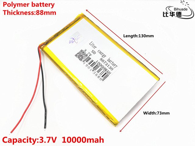 3.7V 10000mAh 8873130 Lithium Polymer Li-Po li ion Rechargeable Battery Lipo cells For Electrograph Bluetooth speaker