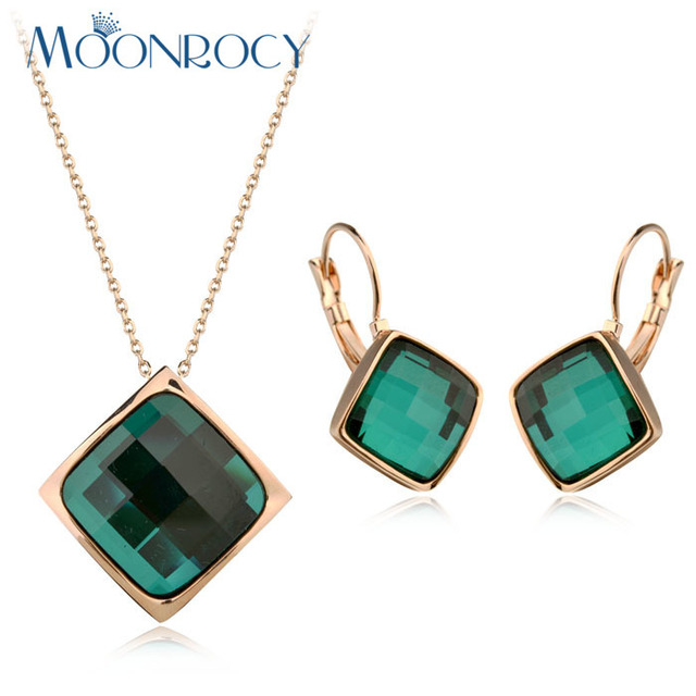 MOONROCY Free Shipping Zirconia Necklace and Earrings Jewelry set Rose Gold Color Austrian Crystal Jewelry Set for women Gift