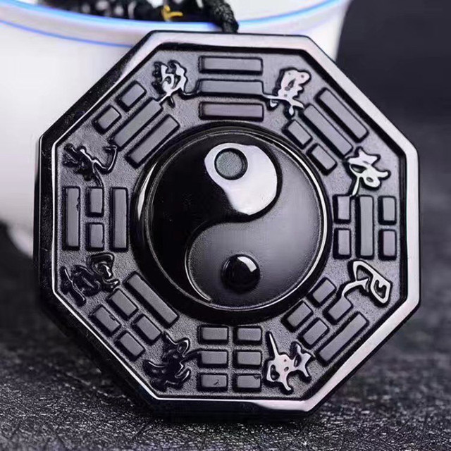 100% Black Obsidian Stone Pendant Carved Yin-Yang Gossip Eight Diagram Pendant Beads Necklace Gift for Men Jewelry Free Chain