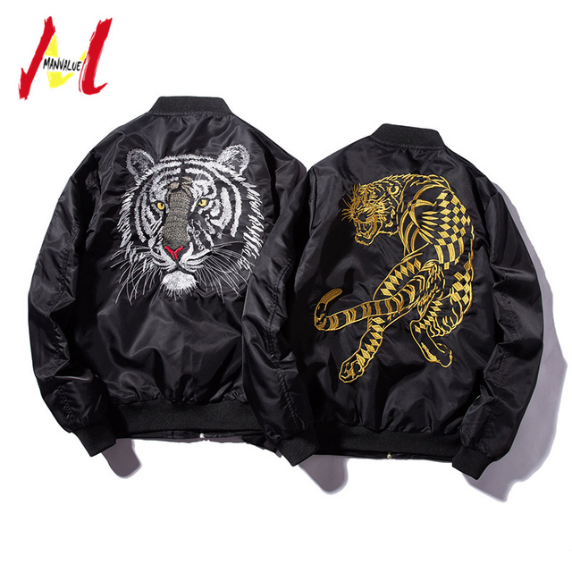 MANVALUE Men's Japanese Style  Harajuku Yokosuka High Street Tiger Embroidery Air Force Ma1 Pilot Suit Male Thin Jackets