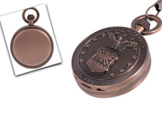 Vintage USA Air Force Emblem Copper-plated Pocket Watch