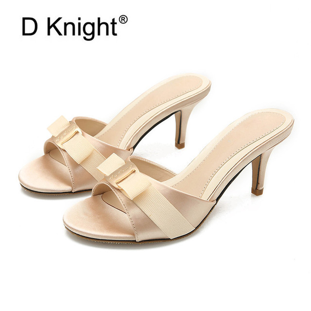 Small Big Size 34-43 Shoes Women Slippers New Summer High Heels Women's Shoes Simple Peep Toe Bow Sandals Sexy Lady Slides Mules