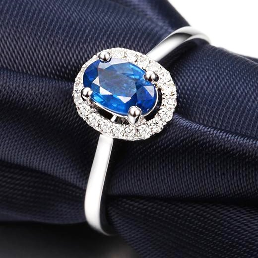 GVBORI Natural Sapphire Ring [only love] 18K Ring Inlaid With Colored Gemstones For Female  Fine Jewelry Valentine