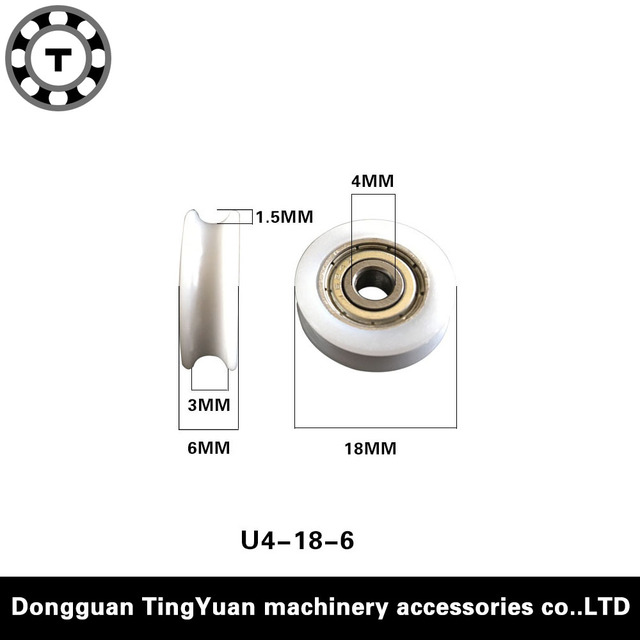 Free Shipping 10PCS/lot  624zz bearing coated POM pulley U groove 4*18*6 door roller wheels outsourcing plastic bearings