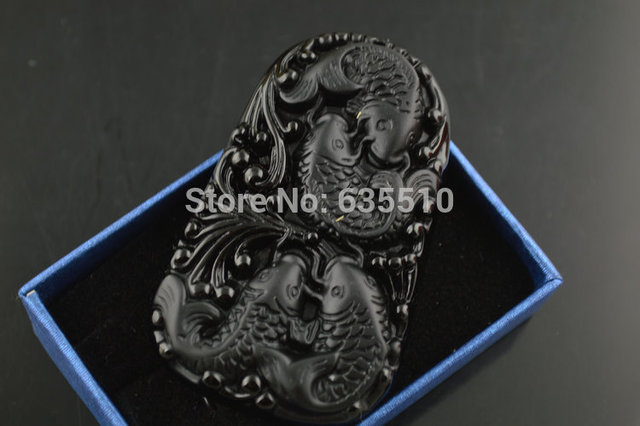 1pc Natural Black Obsidian Stone Carved Cute Fish Square Shape Pendant Necklace Jewelry