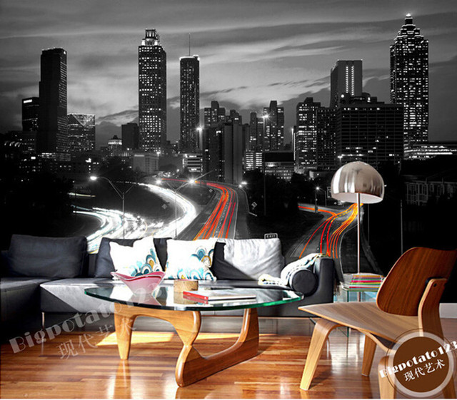 The latest 3D murals, classic black and white series of high-rise buildings, the living room TV sofa bedroom wall paper
