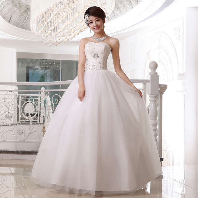2017 New Elegant Wedding Dresses White/Ivory Sweetheart Ball Gown Formal Dress Princess Bridal Gown Free Shipping