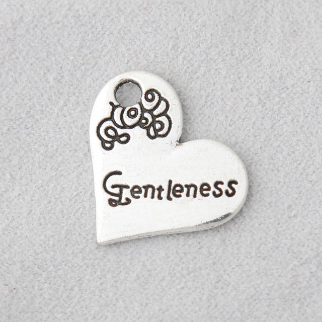 RAINXTAR Fashion Alloy Heart Charms Faithfulness Gentleness Goodness Self Control Peace Patience Charms 20*21mm 50pcs AAC1651