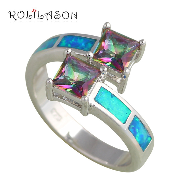 Two Squares Brand design Blue fire Opal Silver Stamped fashion Jewelry Mystic Zircon Rings USA Ring sz #6 #7 #8 #9 OR646