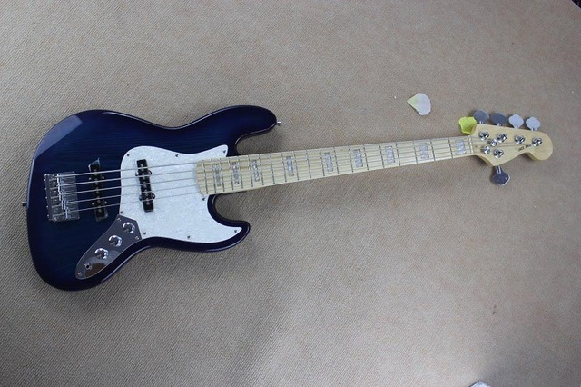 Free Shipping Top Quality 5 String F Jazz Bass Stripe Bright Blue Electric Bass Guitar In Stock  15-9