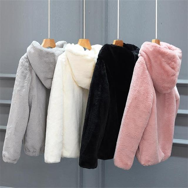 Autumn and Winter New Rex Rabbit Fur Faux Fur Short Female Hooded Loose Thick Plus Size Mink Hair Coat RE2217
