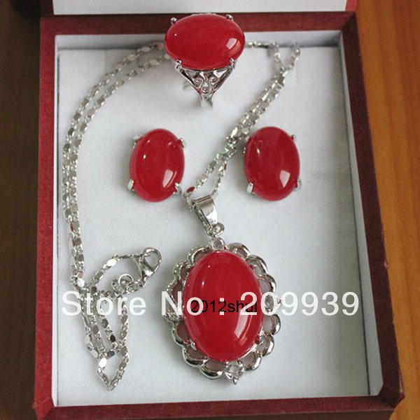 free shipping  0065  ship Beautiful Natural red fine stone Pendant Earring Ring Jewellery set