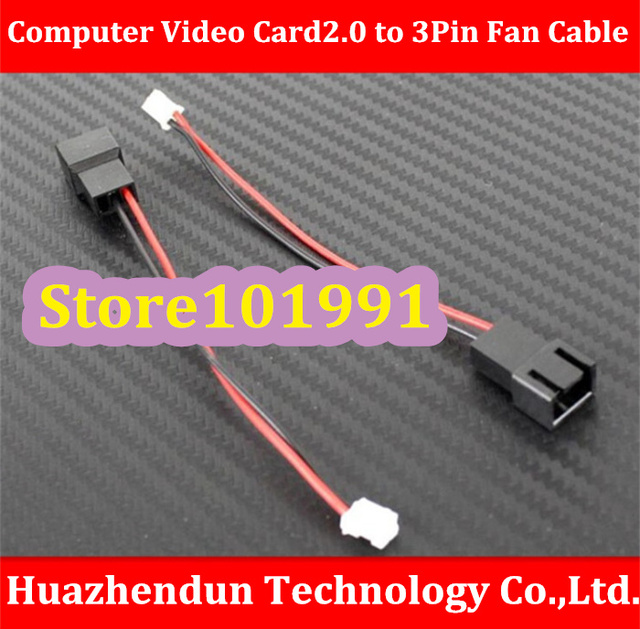 Free Shipping   Computer Video Card 2.0 to 3Pin Fan Cable   Length About 10CM    Mini  2Pin  to  3Pin Fan Cable