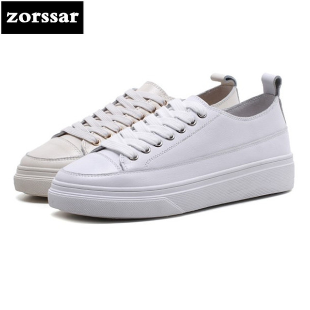 {Zorssar} 2018 Genuine Cow Leather Spring Autumn Flats Loafers Women Sneakers Platform Shoes Flat Casual Shoes Women Sport Shoes