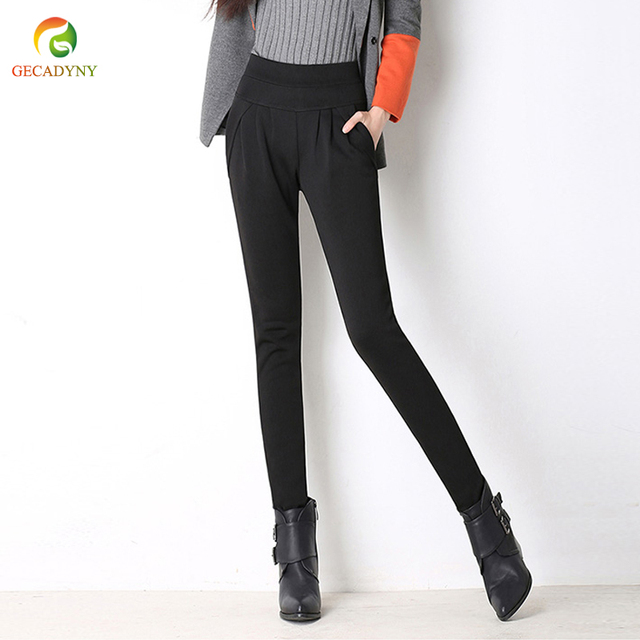 Free Shipping Winter Plus Size S-6XL New Plus Velvet Warm Thick Pants Female Casual Trousers Ladies Solid OL Harem Pants Women