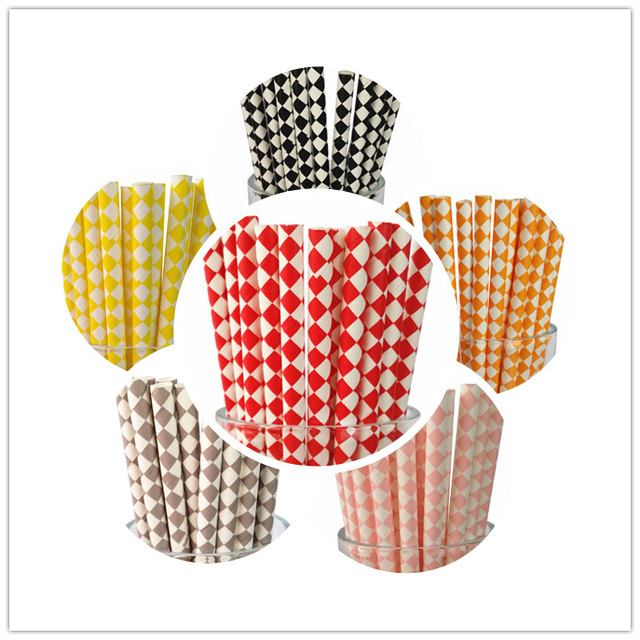 New 100Pcs (25Pcs/Pkg) 18 Designs  Harlequin  Paper Straws For Kids Birthday Wedding Decoration ,Party Event Supply.